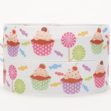 NEW free shipping 50 yards sweet cake ribbons and bows pattern printed grosgrain ribbon