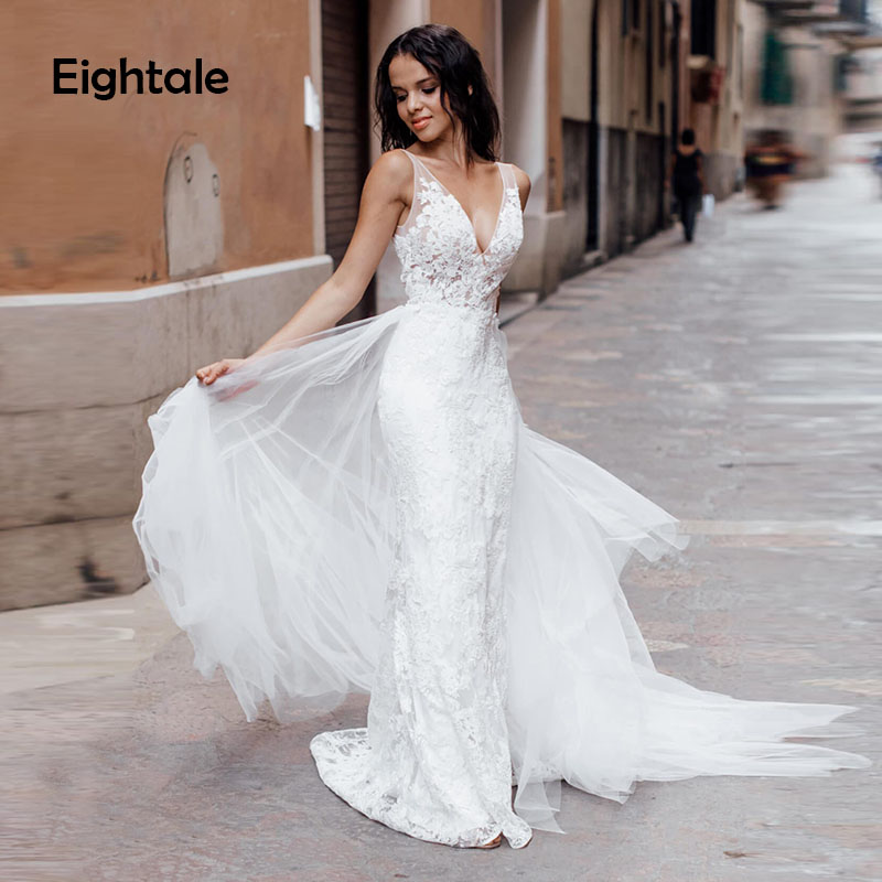 Eightale Romatic Beach Wedding Dresses Boho Appliques Lace Tulle V-Neck Mermaid Wedding Gowns Sexy Bride Dress Free Shipping