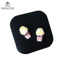 HNXZXB Women Contact Lenses Storage Box Cartoon Popcorn Contact lens Box Eyes Care Kit Holder Travel Washer Cleaner Container(China)