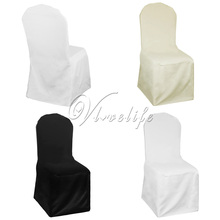 10pcs Top Quality Black/Ivory/White Polyester Chair Cover For Wedding Party Event Banquet Chair Cover Decor Supplies(China)