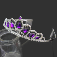 Wedding Bridal Purple Crystal Rhinestone Princess Pageant Prom Veil Tiara Crown Headband Hair Band Hair Accessory Jewellery(China)