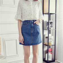 Buy Summer Style Women Mini Skirts High Waist Sexy Women Pockets Blue Single Breasted Denim Line Skirt 2 colors casual skirts for $21.99 in AliExpress store