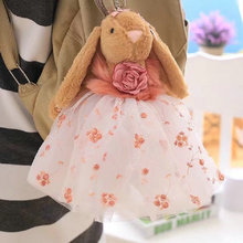 28cm high quality rabbit plush toys Small pendant wedding dress rabbit doll stuffed plush animals birthday gift for Girl(China)