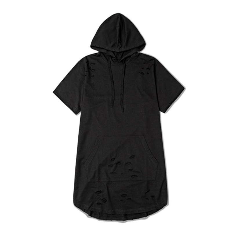 Jamickiki Summer Autumn Men's Hooded Hoodies High Street Fashion Decorative Holes Short Sleeve Front Pocket US size H15