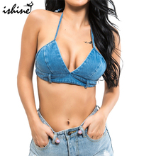 Buy 2018 Women's Denim Bikini Tops Swimwear Tops Sexy Mini Shorts Bra Crop Top Summer Beach Backless Halter Tops