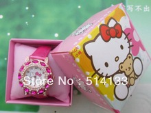 Hello Kitty children watch girls boys watch han edition with drilling and hello Kitty children watch female table in box 1pcs/