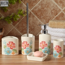 2015 ceramic bathroom set elegant bathroom products six-piece set gift box dispenser toothbrush holder distributeur bath set