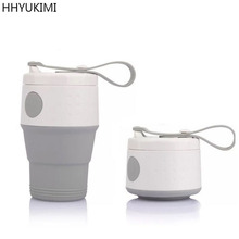 HHYUKIMI Portable Silicone Folding Cup Coffee Cup With Seal Dustproof Lid Outdoor Travel Cups Retractable Mini Water Cup(China)