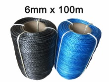Free Shipping 6MM x 100M UHMWPE Fiber Synthetic Winch Tow Sailing Rope/Cable For ATV UTV SUV 4X4 4WD OFF-ROAD(China)