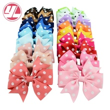 DIY 3 inch Dot Bows Children Grosgrain Ribbon WITH Clip Boutique Bowknot Hair Accessorises For Baby Girls 40pcs/lot 592(China)