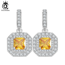 ORSA JEWELS Silver Drop Earrings Dangle Charm 1ct Princess Cut Square Yellow Cubic Zirconia Fashion Crystal Women Earrings OE128(China)
