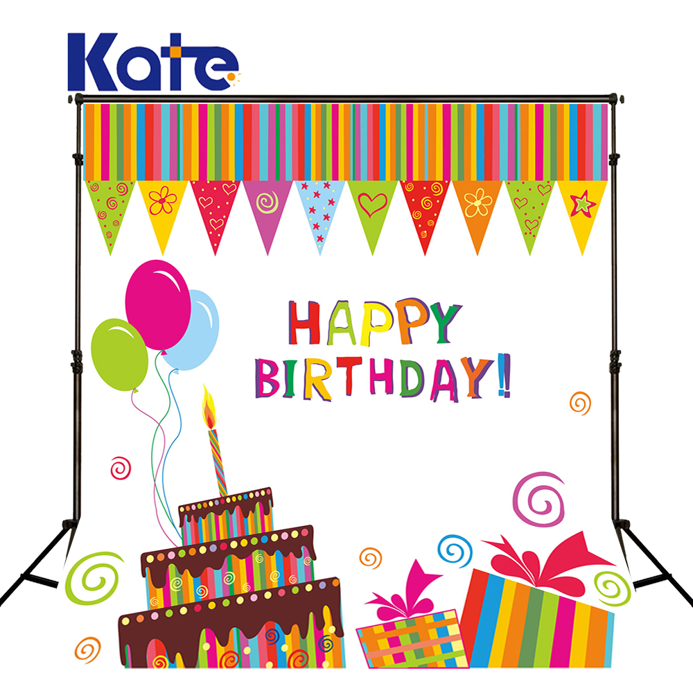 Kate Happy Birthday Photography Backdrops Colour Balloon Cake Digitally Printed Birthday Backgrounds For Photo Studio J02176<br>