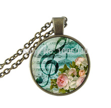 Music note necklace treble clef jewelry glass cabochon pendant musical note neckless for misic lover rose necklace bronze chain(China)