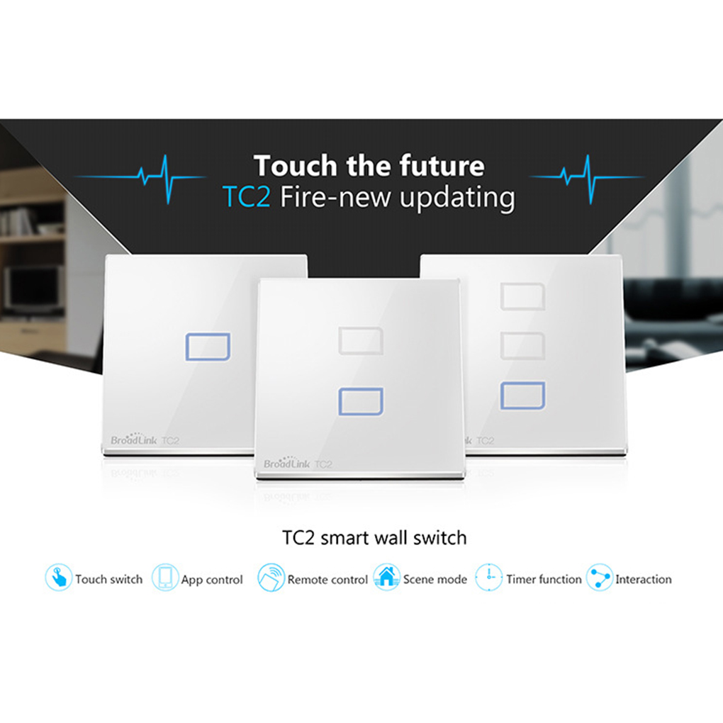 Broadlink TC2 EU Plug 1Gang 2Gang 3Gang RF433 Wireless Remote Control Light Switches Electrical Home Touch Light Wall Switch<br>
