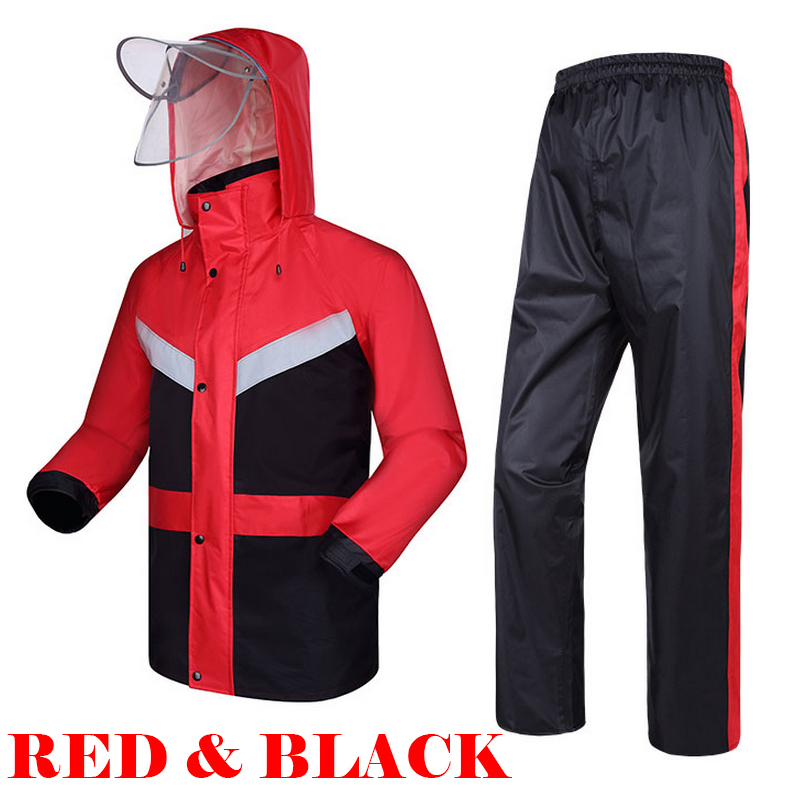Reflective red raincoat waterproof windproof windbreaker  with reflective tapes rain suit jacket pants extra large free shipping<br>