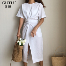 [GUTU] 2018 Summer New Solid Color Loose Round Neck Natural Waist Vintage Split The Fork Fashion Women Dress E4100(China)