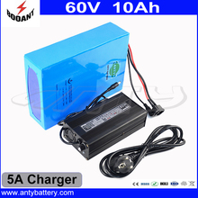 1000W 60V 10Ah Electric Bicycle Battery Built-in 30A BMS With 5A Charger Lithium Rechargeable Battery Pack 60V Free Shipping