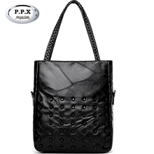 New 2018 Europe Women Hangbags Women Shoulder Bags Fashion Rivet Female Bucket Bag Leather Lady Black Messenger Pack Totes A855(China)