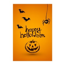 Decorative Outdoor And Indoor Flags For Happy Halloween Pumpkin Bats Designed With Double Sided Printing Banners