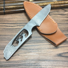 Retro pattern Damascus steel blade Outdoor Camping knife Portable Survival Hunting knive with leather sheath knives fixed blade