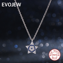 Authentic 100% Solid Silver Chain Necklaces 925 Sterling Silver Dazzling Blue & Clear CZ Star Pendant Necklace Women Jewelry