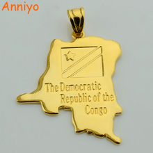 Anniyo Democratic Republic of the Congo National Flag/Map Gold Color DRC Kinshasa Pendant Necklace Jewelry For Women Men