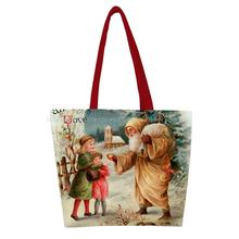 Christmas Kind santa distribute peace apple to kids print custom reusable foldable Shopping Bag nylon handbag shoulder tote bags