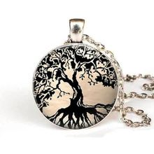 steampunk chain Free shipping Tree Necklace Women, Tree of Life Dome Necklace Tree Jewelry Glass Tile Pendant Black Jewelry