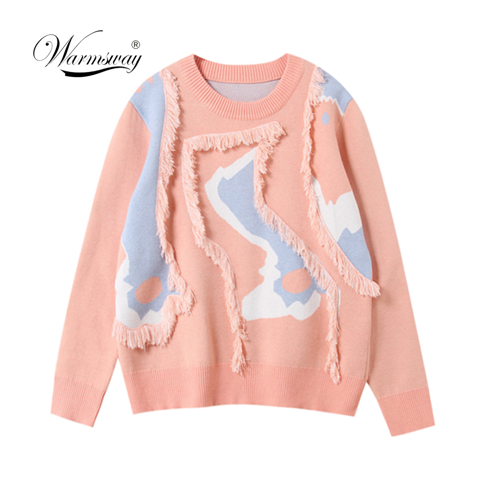 Tassel knitted sweater women pullover Casual light blue winter sweater female O neck 2019 autumn jumper pull femme C-433