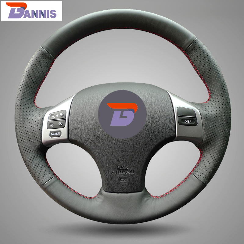 BANNIS Black Artificial Leather DIY Hand-stitched Steering Wheel Cover for Lexus is250 Car Special(China)