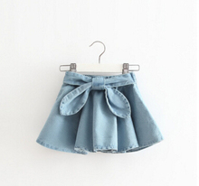 2017 New Girls Spring & Summer Solid Skirts Girls Jean Skirt Baby Girls Party Skirts Kids Brand(China)