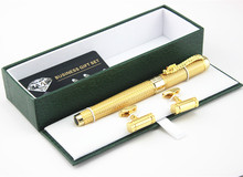 Golden Dragon Red Crystal Eyes Rollerball Pen and Cufflinks(China)
