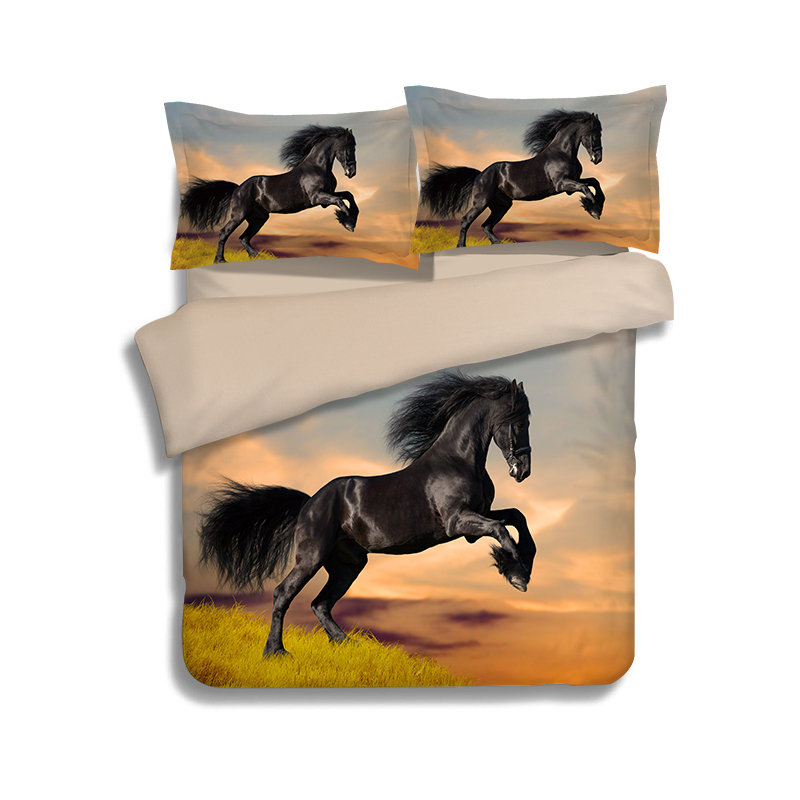horse animal duvet quilt doona cover queen king twin size 3D printed black and white bedding bed sets for kids boys 3pc(China (Mainland))