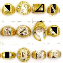 Fashion Jewelry Cool Mix Style 5Pcs/Lot Czech Rhinestones Gold Color Big Men Rings Wholesale Wedding Jewelry Lots