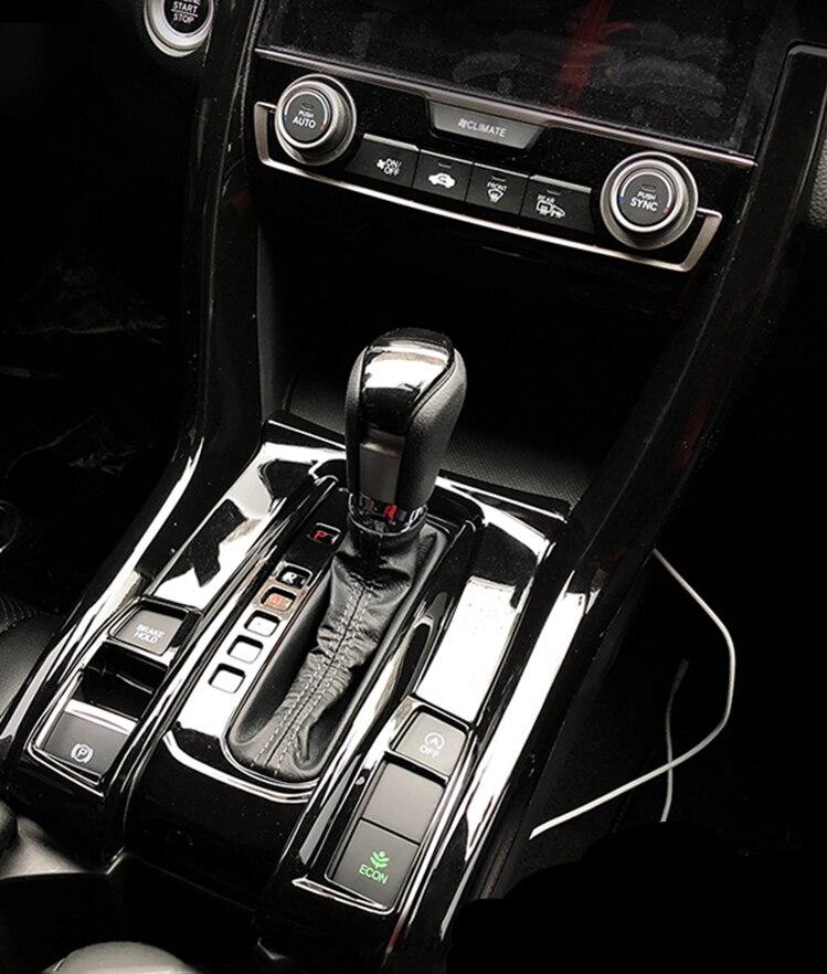 Black titanium Car Gear Shift U-shaped Cover Trim For Honda Civic 2016-2018