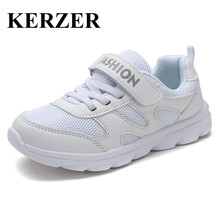 KERZER 2017 Boys Girls Summer Walking Shoes Breathable Kids Running Sneakers White Girls Sport Sneakers Mesh Cheap Kd Trainers