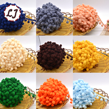 Hot sale 5yd/lot 25mm width colorful PP ball elastic lace ribbon tassel trim sewing material accessories for home decoration diy(China)
