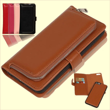 Brown Leather Case for iPhone 7 6 6s Plus for Samsung Galaxy S6 S7 Edge S5 Luxury Wallet Cover Phone Bag Purse with Card Holder