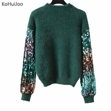 KoHuiJoo Autumn Winter Lady Patterns Mohair Sweater Women Sequin Sleeve Loose Knitted Pullovers Fashion O Neck Pullover Tops(China)