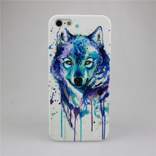 Watercolor Wolf High Definition Printing PC Hard Case Cover For Apple iPhone 4 4S 5 5S 5C 6 6S 6 Plus 6SPlus