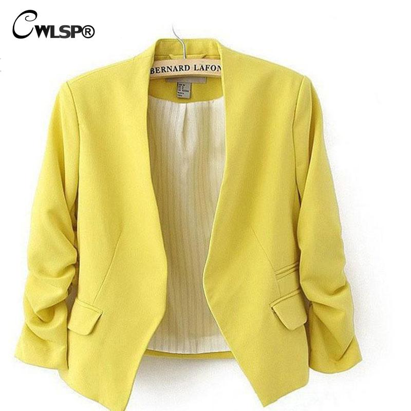 CWLSP 2016 New Autumn short jackets Candy Color Women outwear Spring Slim Short Design Suit Coat S/M/L/XL Free Shipping LD0606(China (Mainland))