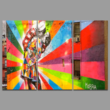 Modern Fashion colorful Lovers living room Decoration Graffiti Canvas printed Painting on wall art pictures home decor unframed