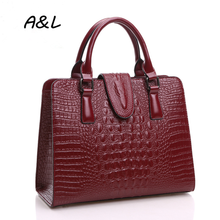 100% Genuine Leather Bag Women Luxury Brand Designer Crocodile Handbag Lady Office Fashion Casual Shoulder Messenger A0036 - A&L Store store