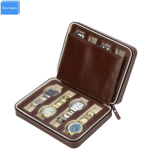 Luxury Brown Zippered leather 8 Watch box Sport Storage Portable Travel Watch Packing Box Storage Box Hours Zipper Collect(China)