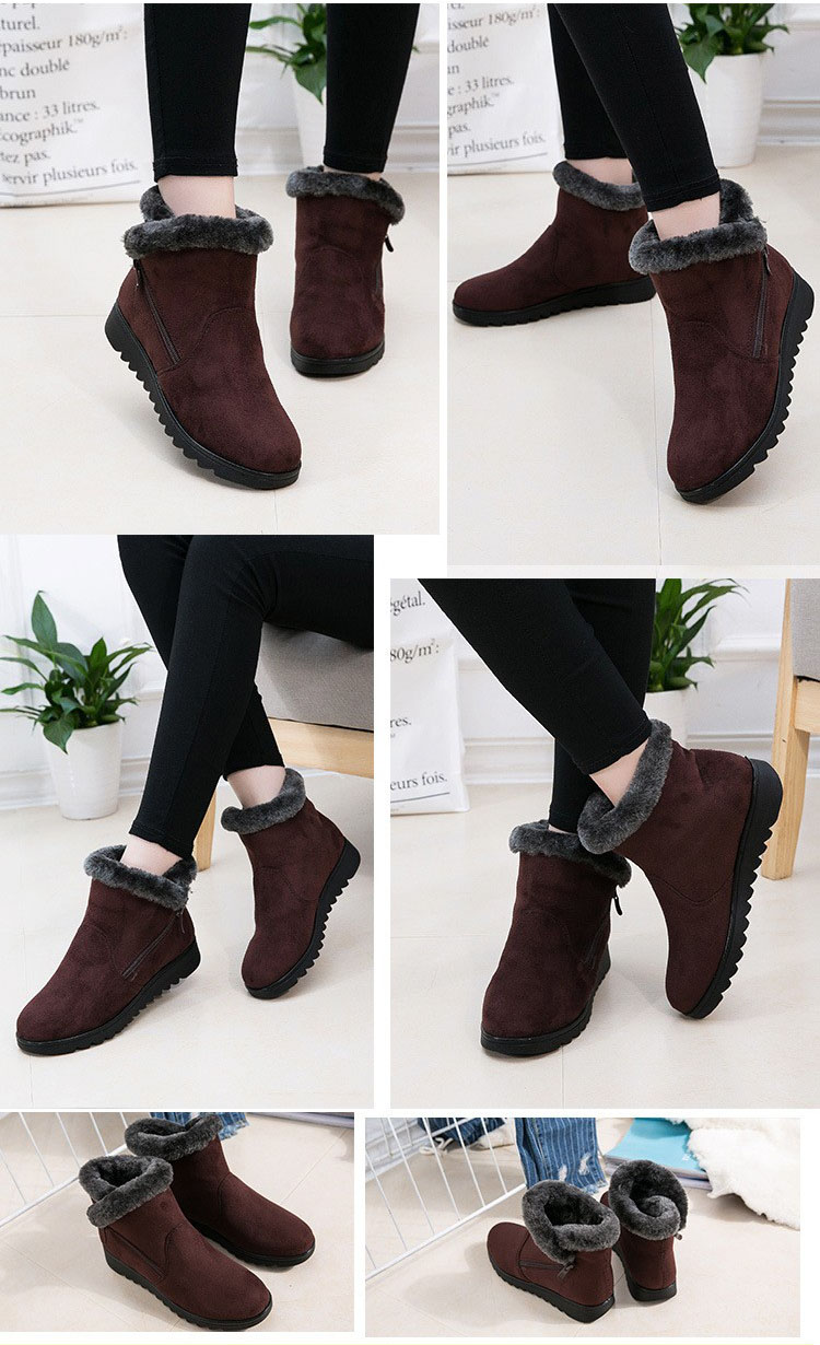 New Design Ladies Winter Shoes Fashion Ankle Boots 2017 Flat with Keep Warm Cozy Snow Boots for Women