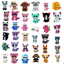 Original Ty Panda Beanie Boos Big Eyes Plush Toy Doll Colorful Rabbit Baby Kids Gift Bat 15 cm
