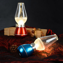 New Blowing Control USB Rechargeable Retro Style Vintage LED Kerosene Lamp Night Light Adjustable induction lamp #LO