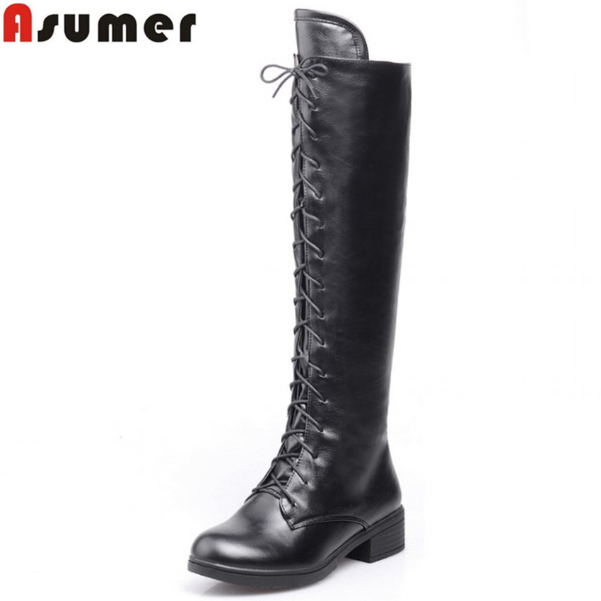 Asumer 3 colors new big size 34-43 women boots winter fashion lace up knee high boots sexy woman shoes snow motorcycle boots<br>