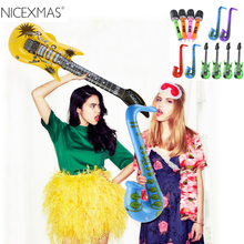 12pccs Inflatable Tool Inflatable Guitar Saxophone Microphone Music Children Toys Balloons Part Decoration (Random Color)(China)