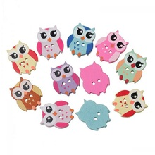 50Pcs/Lot Mixed Wooden OWL Buttons Charms 2 Holes Sewing Scrapbooking Cardmaking Hot